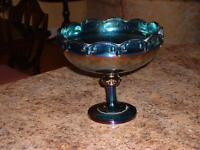 Blue carnival glass fruit bowl