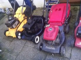 Mount field petrol lawnmowers