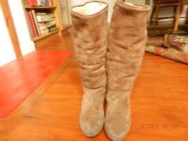 Beige Knee High Suede Boots