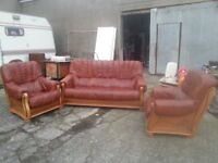 light brown leather suite