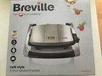 Breville cafe style 3 slice sandwich press- BRAND NEW