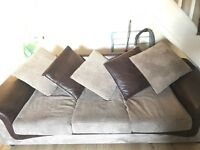 3 seater and 2 seater coffee coloured with leather cushions