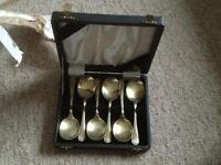 Silver plated spoons in case