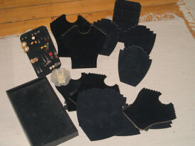Collection of Multiple Velvet Necklace Earring Stands Jewellery Holder Shop Display