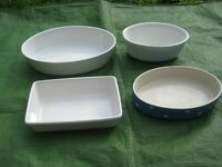 Four Various Glazed Stoneware Cookware Dishes for £5.00