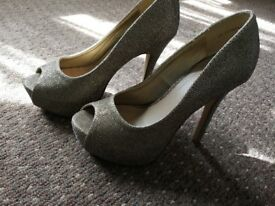 Gold glitter open toe heels