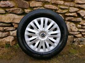 195 65 15 x 5 tyres and 112×5 steel rims VW trims