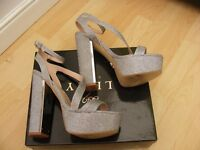 Lipsy Sexy Silver Sparkly High Heel Ankle Strap Party Sandals Shoes UK 6