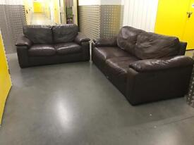 2x genuine leather sofa, Free delivery