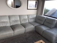 leather corner sofa, worn but extremely comfortable. Light blue. Can be split as shown