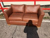 Brown leather office reception settee sofa