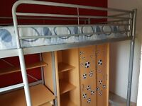 Kids Metal High Riser Bed, Double Wardrobe, Shelves, Desk and Chair