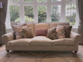 Sargent 3-Seater Sofa - loose back, covered in Nina Campbell Taupe/Grey Fabric. Cost New £4000+