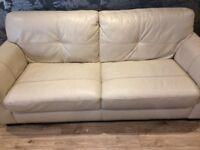 Cream leather sofa !great condition!