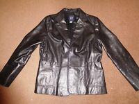 GAP Black Cow Leather Blazer Jacket Coat Size 12 Used