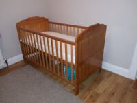 Obaby cot bed - size 140x70 with mattress