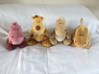 4 quality soft cuddly toys by Nici, excellent condition