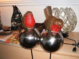 Christmas birds on a sphere for garden.