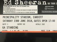 Ed Sheeran tickets 23/06/18 Cardiff