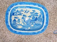 Vintage Willow pattern blue and white serving dish/plate 18 inches x 14 inches