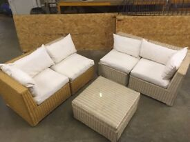 Set of Wicker Chairs with cushions and glass topped coffee table