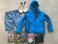 Mountain Warehouse jacket 9-10, Nike Astros 5, shorts, dvds and new Fantastic Beasts book
