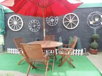 HARD WOOD GARDEN FOLDING TABLE WITH 4 HARD WOOD FOLDING CHAIRS WITH ARMS £100 (WITHOUT PARASOL)