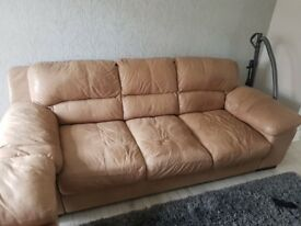 Lovely 3 seater sofa and 1 chair cream leather sofa
