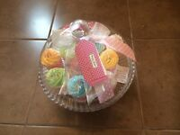 Glass cake stand with bath bombs inside
