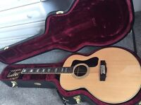 Guild F-1512E AS NEW MINT 12 String Jumbo Electric Acoustic Guitar Fishman pickup & deluxe hard case
