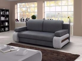 BRANDED-- ITALIAN DESIGN -- 3 SEATER SOFABED WITH CONVERTIBLE 4FT6 BED -- STORAGE -- GREY AND BROWN