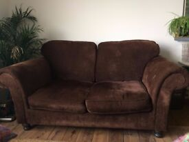 Chocolate Brown Chenille 2 seater sofa