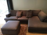 Large 'Next Stratus' Chaise sofa with Matching storage Footstool