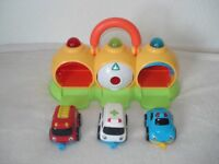 ELC Three car garage with sound effects and 3 cars