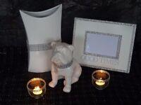 Photo/Picture Frame, Vase, T Light Holders and Ceramic Bulldog Ornament