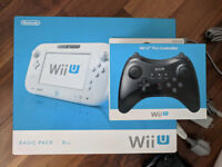 Wii U 8GB white console with 4 games (Zelda, Smash Bros, Mario), pro controller, 16GB memory stick