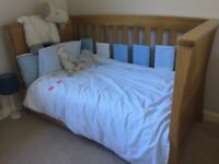 Mamas & Papas - Ocean Baby to Toddler Cot bed in Solid Oak