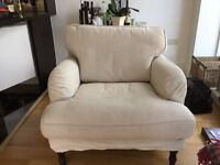 IKEA Stocksund large armchair light beige with black wooden legs perfect condition 2 yrs old