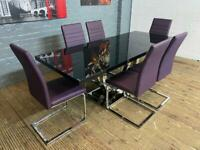 STUNNING BLACK GLASS DINING TABLE 6 PURPLE LEATHER CHAIRS