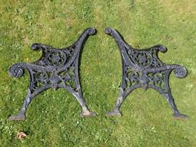 Nice Heavy Pair of Cast Iron Garden Bench Ends Floral Star Leaf & urn Detail