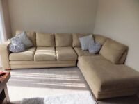 DFS CREAM CORNER SOFA WITH POUFFE - LIKE NEW CONDITION - MUST GO ASAP - CHEAP DELIVERY - £375