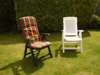 Reclining outdoor garden chairs