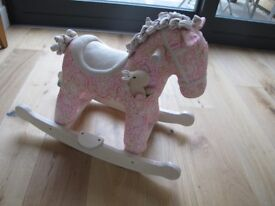 Pink Floral Pixie and Fluff Rocking Horse - Excellent condition.