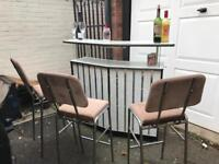 "Rare Mid century cocktail bar with light with 3 chrome bar stools W47.5"" H42.5"" D1ft"