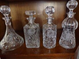 Set of Four Crystal Decanters - Sherry / Whisky / Brandy / Port - Will Split