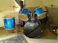 electric blue pp drum kit and stool
