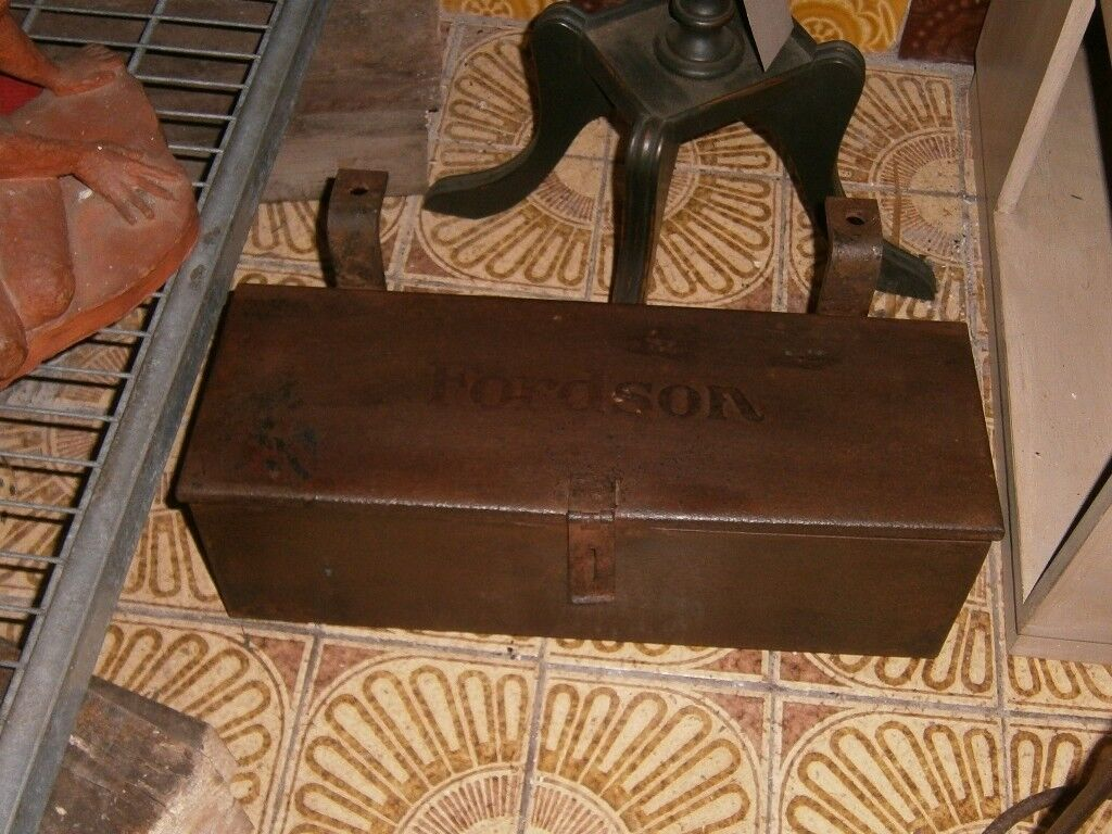 Old metal fordson tractor tool box