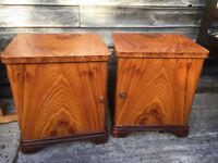 vintage retro Danish mid century antique art deco wooden bed side cabinets storage units x 2 pair