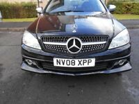 Beautiful one of Black Mercedes C200 SE CDI, twin exhaust, front & rear spoilers, diamond grill