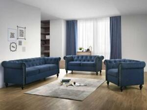 Blue Tufted 3 PC Sofa Set (KA202)